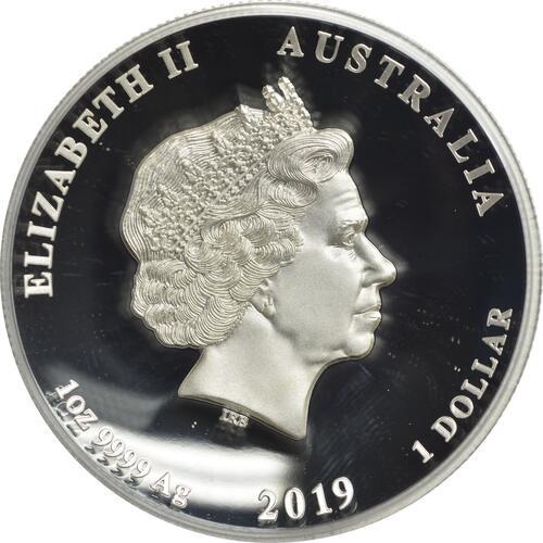 Rückseite:Australien : 1 Dollar Jahr des Schweins - Highrelief  2019 PP