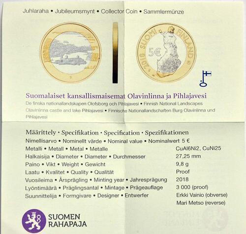 Zertifikat:Finnland : 5 Euro Olavinlinna - Pihlajavesi  2018 PP