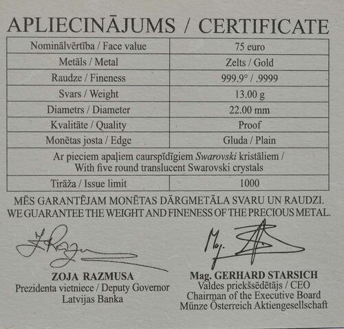Zertifikat:Lettland : 75 Euro Goldene Brosche Bubble Fibula  2018 PP