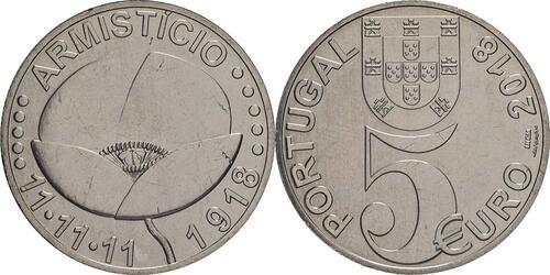 Lieferumfang:Portugal : 5 Euro 100 Jahre Waffenstillstand  2018 bfr