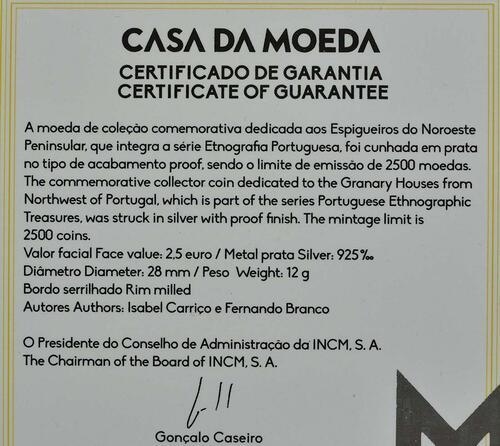 Zertifikat:Portugal : 2,5 Euro Kornspeicher von Nordwestportugal  2018 PP
