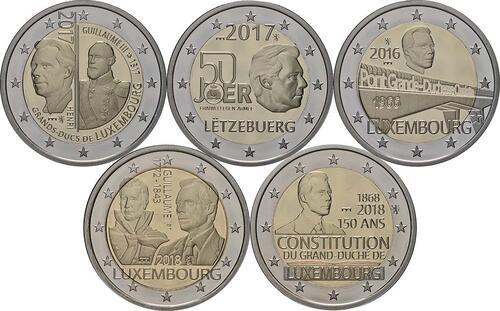 Rückseite:Luxemburg : 2 Euro 5x2 Euro Gedenkmünzen Set Charlotte-Brücke, Freiwilligenarmee, Guillaume III., Verfassung, Guillaume I. 2016-2018  2018 PP