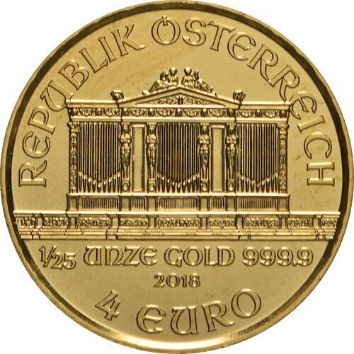 Rückseite:Österreich : 4 Euro Philharmoniker  2018 Stgl.
