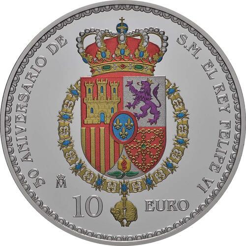 Rückseite:Spanien : 10 Euro Hochzeit, coloriert  2018 PP