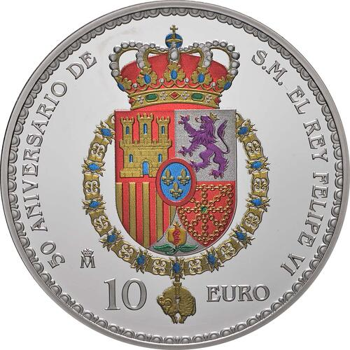 Rückseite:Spanien : 10 Euro Prinzessin Leonor, coloriert  2018 PP