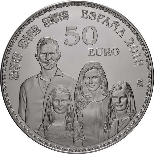 Vorderseite:Spanien : 50 Euro Königliche Familie  2018 PP