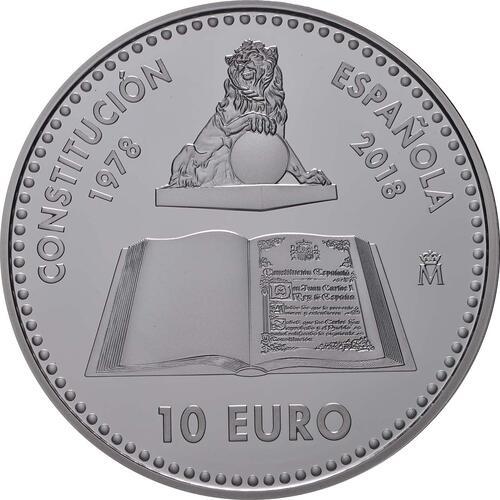 Rückseite:Spanien : 10 Euro 40 Jahre spanische Verfassung  2018 PP