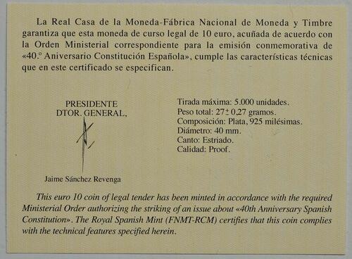 Zertifikat:Spanien : 10 Euro 40 Jahre spanische Verfassung  2018 PP