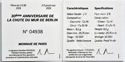 Zertifikat:Frankreich : 2 Euro Mauerfall  2019 PP
