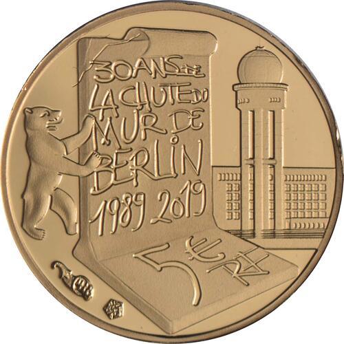 Rückseite:Frankreich : 5 Euro Fall der Berliner Mauer  2019 PP