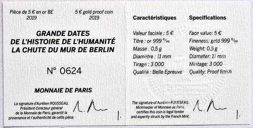 Zertifikat:Frankreich : 5 Euro Fall der Berliner Mauer  2019 PP