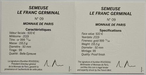 Zertifikat:Frankreich : 500 Euro Franc Germinal  2019 PP
