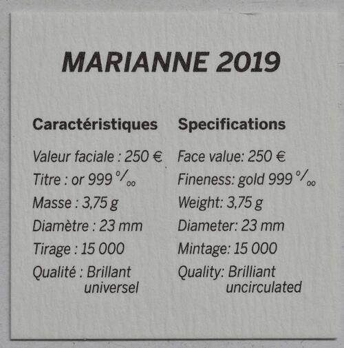 Zertifikat:Frankreich : 250 Euro Marianne  2019 bfr