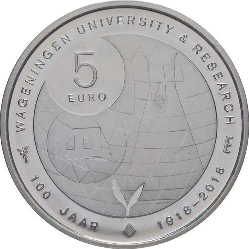 Rückseite:Niederlande : 5 Euro Uni Wageningen  2018 Stgl.