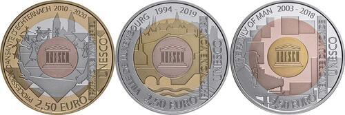 Vorderseite:Luxemburg : 7,5 Euro 3x2,5 Euro UNESCO-Set  2018 PP