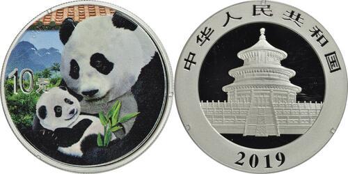 Lieferumfang:China : 10 Yuan Silberpanda farbig - Variante 1 - rotes Dach  2019 Stgl.
