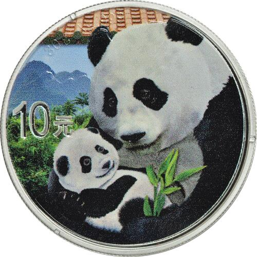 Vorderseite:China : 10 Yuan Silberpanda farbig - Variante 1 - rotes Dach  2019 Stgl.