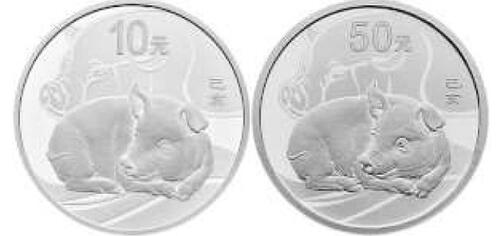 Lieferumfang:China : 60 Yuan Year of the Pig Set Au/Ag  2019 PP