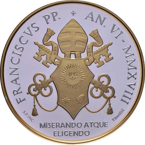 Rückseite:Vatikan : 5 Euro Heiligsprechung Papst Paul VI., vergoldet  2018 PP