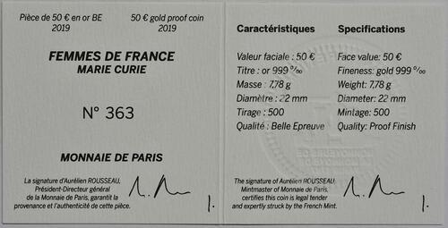 Zertifikat:Frankreich : 50 Euro Marie Curie  2019 PP