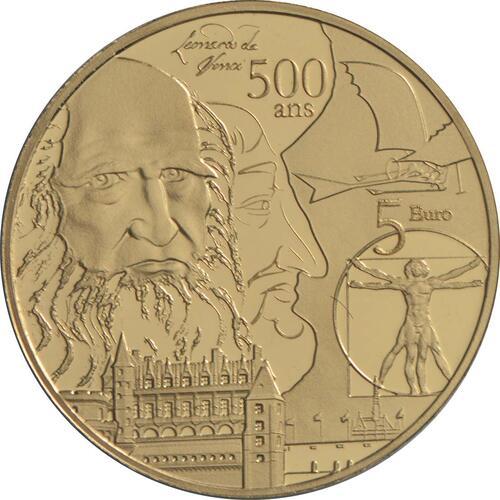 Vorderseite:Frankreich : 5 Euro Renaissance - Da Vinci  2019 PP