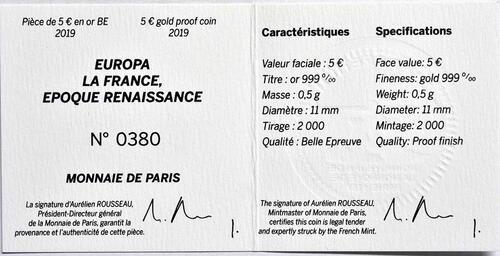 Zertifikat:Frankreich : 5 Euro Renaissance - Da Vinci  2019 PP