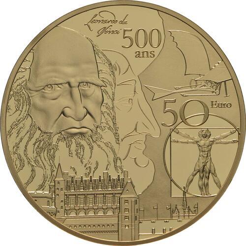Vorderseite:Frankreich : 50 Euro Renaissance - Da Vinci  2019 PP