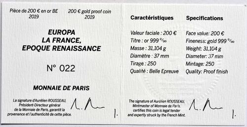 Zertifikat:Frankreich : 200 Euro Renaissance - Da Vinci  2019 PP