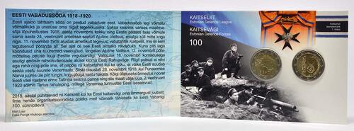 Lieferumfang:Estland : 4 Euro 1x2 Euro Gedenkmünze 100 Jahre Republik Estland, 1x2 Euro Kursmünze  2018 Stgl.