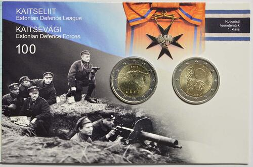 Vorderseite:Estland : 4 Euro 1x2 Euro Gedenkmünze 100 Jahre Republik Estland, 1x2 Euro Kursmünze  2018 Stgl.