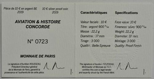 Zertifikat:Frankreich : 10 Euro Concorde  2019 PP