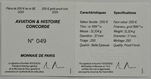 Zertifikat:Frankreich : 200 Euro Concorde  2019 PP
