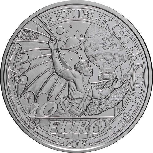Rückseite:Österreich : 20 Euro   Der Traum vom Fliegen   2019 PP
