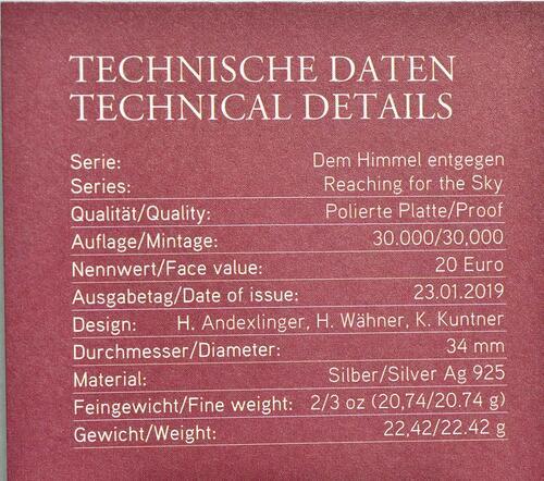 Zertifikat:Österreich : 20 Euro   Der Traum vom Fliegen   2019 PP