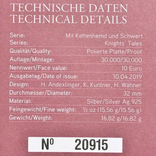 Zertifikat:Österreich : 10 Euro Ritterlichkeit - farbig  2019 PP