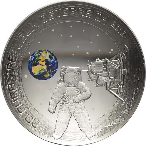 Vorderseite:Österreich : 20 Euro 50 Jahre Mondlandung  2019 PP