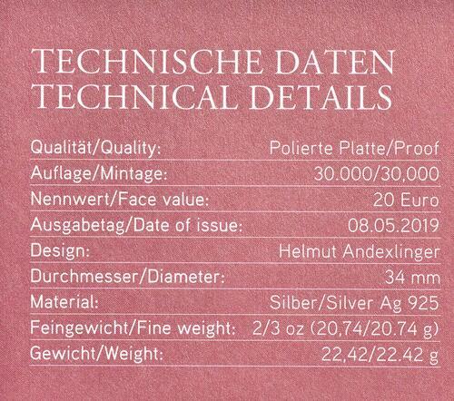 Zertifikat:Österreich : 20 Euro 50 Jahre Mondlandung  2019 PP