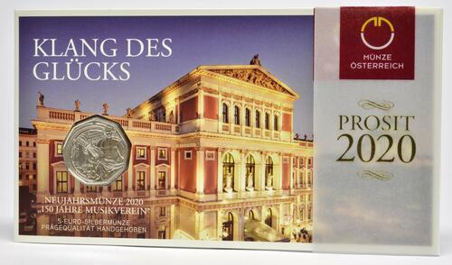 Lieferumfang:Österreich : 5 Euro Neujahrsmünze - 150 Jahre Musikverein  2020 Stgl.