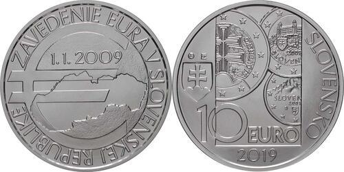 Lieferumfang:Slowakei : 10 Euro 10 Jahre Euro in der Slowakei  2019 Stgl.