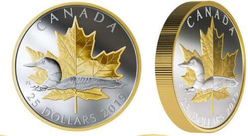 Lieferumfang:Kanada : 25 Dollar Zeitlose Ikonen - Maple Leaf und Loon Piedfort  2019 PP