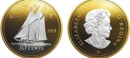 Lieferumfang:Kanada : 10 Cent Große Münzen - Bluenose  2019 PP