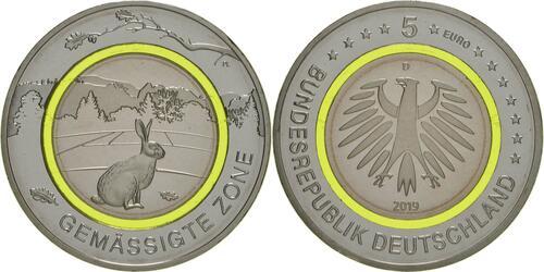 Lieferumfang:Deutschland : 5 Euro Gemäßigte Zone - grün  2019 bfr