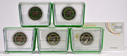Lieferumfang:Deutschland : 5 Euro Gemäßigte Zone - grün - Komplettsatz 5 Münzen A-J  2019 PP