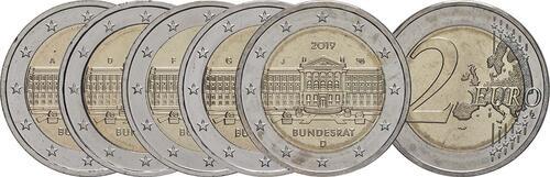 Lieferumfang:Deutschland : 2 Euro Bundesrat - Komplettsatz A-J 5 Münzen  2019 bfr