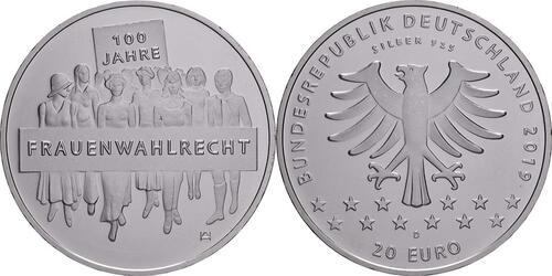 Lieferumfang:Deutschland : 20 Euro 100 Jahre Frauenwahlrecht  2019 bfr