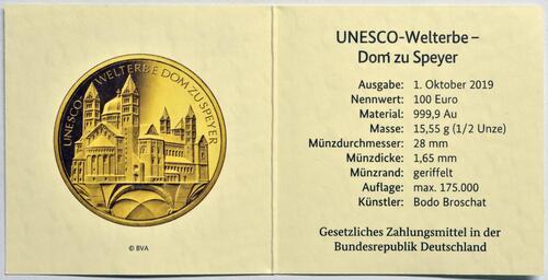 Zertifikat:Deutschland : 100 Euro Dom zu Speyer - Buchstabe unserer Wahl  2019 Stgl.