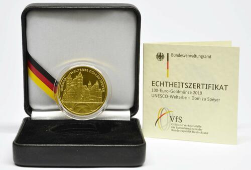 Lieferumfang:Deutschland : 100 Euro Dom zu Speyer - Komplettsatz 5 Münzen A-J  2019 Stgl.