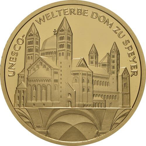 Vorderseite:Deutschland : 100 Euro Dom zu Speyer - Komplettsatz 5 Münzen A-J  2019 Stgl.