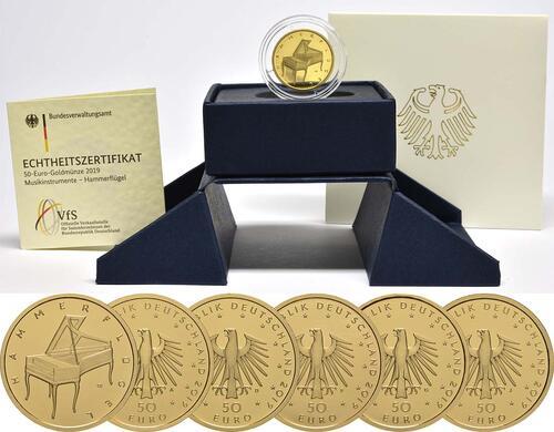 Lieferumfang:Deutschland : 50 Euro Hammerflügel - Komplettsatz 5 Münzen A-J  2019 Stgl.