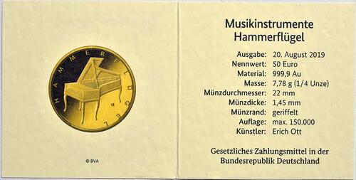 Zertifikat:Deutschland : 50 Euro Hammerflügel - Komplettsatz 5 Münzen A-J  2019 Stgl.